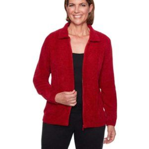 Alfred Dunner Women's Chenille Zip Up Cardigan - L